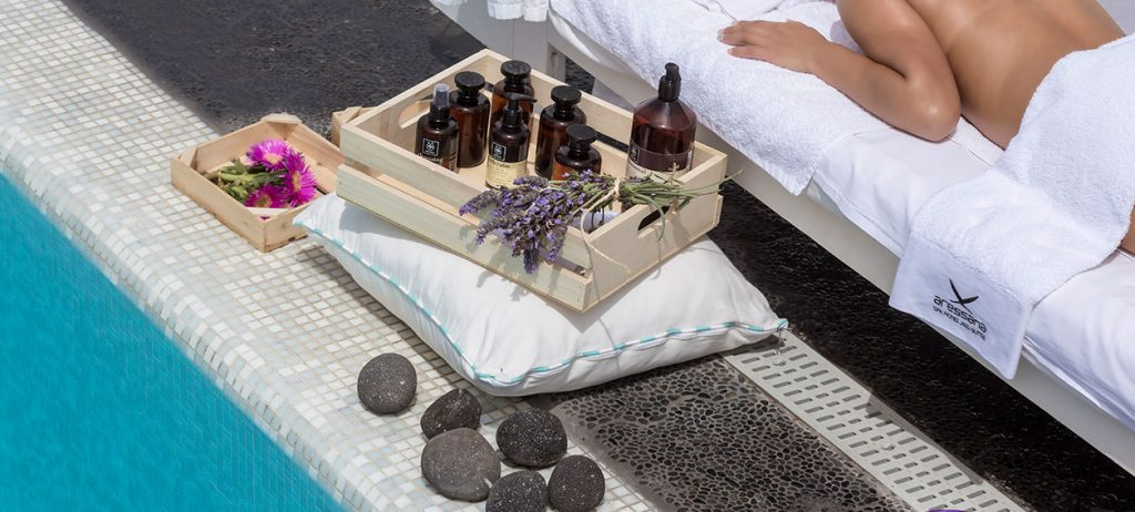 We use natural Greek beatuy products of Apivita in Tefsion Kallos of Aressana Spa  Hotel & Suites!